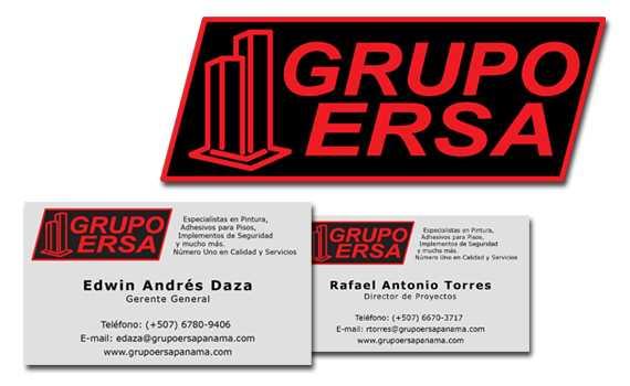Diseño de tarjetas de presentación y logo para Grupo Ersa, Panama   Mediabros.com